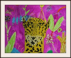 """""""Jaguars were created with chalk and oil pastel on construction paper and then cut out. Their backgrounds were done with oil pastel and watercolor resist (always magical in the eyes of a young artist). They had the option of adding an extra layer with cut leaves from sponge painted paper. """" MaryMaking"""