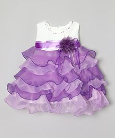 Lilac & White Ruffle Tiered Dress - Infant