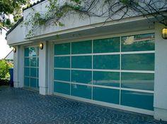 Azurlite Blue Glass Garage Door Installation modern garage doors