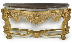 An important Dutch Baroque carved giltwood console table, after designs by Daniel Marot circa 1690 Marot was a French Huguenot refugee who first went to Holland, where he worked @ Het Loo for William Prince of Orange... He followed the prince to England when he was made King William III his wife Queen Mary employed Marot @ Hampton Court