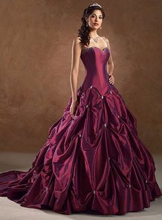 Rich Taffeta Sweetheart Neckline Cathedral Train Ball Gown Wedding Dress www. Beautiful designer bridal gowns and wedding dresses for your big day. cheap fashion for bridesmaids, flower girls at www. Ball Gown Dresses, Prom Dresses, Gown Skirt, Corset Dresses, Dress Prom, Moda Lolita, Red Gowns, Colored Wedding Dresses, Perfect Wedding Dress