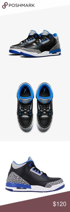 "Jordan Retro 3 s ""Sport Blue"" GS These are grade school size and for  women s 7 6d1a68fcd"