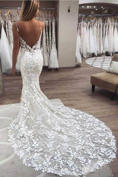 Buy Elegant Mermaid Spaghetti Straps Lace V Neck Ivory Wedding Dresses, Bridal Dresses on sale.Shop prom or formal dresses from Promdress. Find all of the latest styles and brands in Junior's prom and formal dresses at rosepromdress Wedding Dress Chiffon, How To Dress For A Wedding, Applique Wedding Dress, Classic Wedding Dress, Sexy Wedding Dresses, Bridal Dresses, Wedding Gowns, Party Dresses, Elegant Dresses