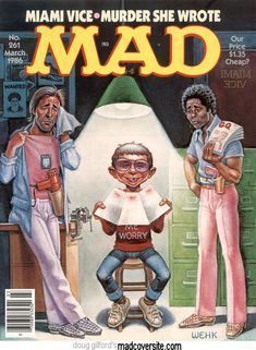 Mad Magazine, Magazine Covers, Mad Tv, Miami Vice, Book Covers, Funny, Magazines, Books, Memories