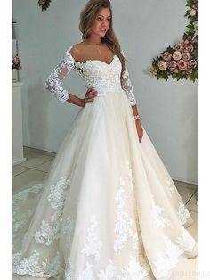 A-Line Bateau 3/4 Sleeves Court Train Wedding Dresses, elegant wedding dresses, wedding gown, #weddingdresses #simibridal