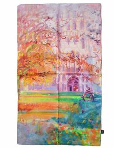"""TONY & CANDICE Women's Oil Paintings Printed 100% Silk Long Scarf Shawl (""""Church In Autumn""""): Amazon.co.uk: Clothing"""