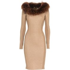 THOMAS RATH Chic Fur Wool Camel Knit dress with fur collar ($670) ❤ liked on Polyvore featuring dresses, fur, vestidos, short dresses, red wool dress, fitted cocktail dresses, red cocktail dress, zipper dress and fitted dresses