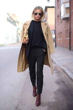 Tine Andrea is wearing shoes from Alexander Wang, blazer from Hugo Boss, top from Zara, Camel coat, sunglasses from RayBan and the clutch is...