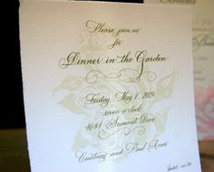 Dinner in the Garden  {by paces papers, calligraphy by marlean tucker}