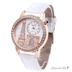 Damen Armbanduhr 3D Paris mit Strass  Rosegold weiß