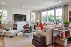 Residence Three Living Room at Mackay Place in Cypress, CA. #WilliamLyonHomes