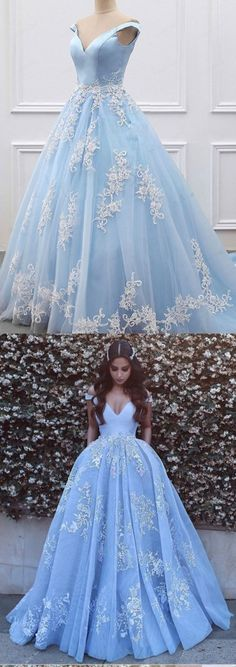 Ball Gown Off Shoulder Sleeves Light Blue Tulle and Lace Prom Dress