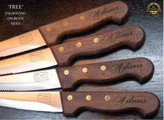 Steak Knife Set of 4 Personalized Steak Knives Wood Handle