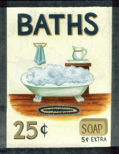 Vintage  BATHS Retro Primitive Country Sign Wood by carolalden, $9.99