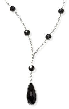Black Onyx Necklace in 14k White Gold