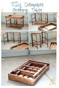 DIY Collapsible Potting Table made from pallet material.