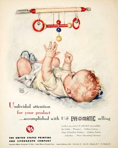 1949 Ad Eyeomatic Maud Tousey Fangel Baby Mobile Printing Marketing Firm Infant #vintagebaby