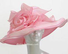 Women's Dressy Church Hat, Derby hat, Lt. Pink-0061