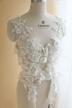 Bridal Bodice Lace Luxury 3D Beaded Lace Applqiue Wedding Dress Lace Applique Tulle Embroidery Lace Applique Floral Lace