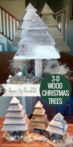 VIDEO: Build a set of rustic 3D wood trees for Christmas and winter decorating, using a couple of old reclaimed wood fence boards and your miter saw. #rusticwoodtrees #woodchristmastrees #woodworking #buildingplans 3d Christmas Tree, Christmas Wood Crafts, Rustic Christmas, All Things Christmas, Holiday Crafts, Christmas Ideas, Primitive Christmas, Spring Crafts, Christmas Presents
