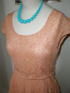 #Vintage Pretty #Peach #Lace Day #Dress S M by bettiedarling on #Etsy, $28.00
