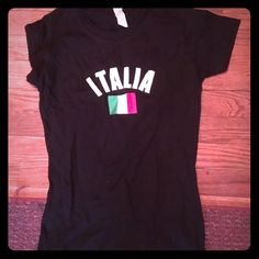 NWOT Italia Shirt Never worn.The tag says medium but it fits more like an xs. Tops Tees - Short Sleeve