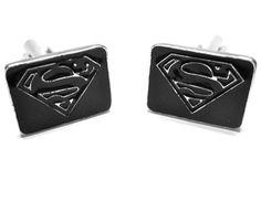 Superman Cufflinks : Black Logo Black Rectangle - Superhero Cufflinks - Cufflinks