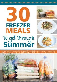 Easy summer dinner recipes for busy families freezer meals summer recipes. Make Ahead Freezer Meals, Easy Meals, Freezer Cooking, Freezer Recipes, Freezable Meals, Batch Cooking, Oven Recipes, Crockpot Meals, Cooker Recipes