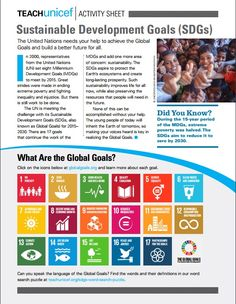 Activity Sheet to Teach about the Sustainable Development Goals