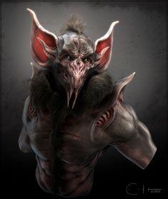 Bat Creature Bust Concept, Ben Erdt on ArtStation at https://www.artstation.com/artwork/93rW