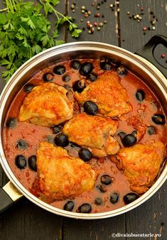 Photo about Delicious chicken stew with olives in tomatoes sauce. Chicken cacciatore, ready to serve. Romanian Food, Yum Yum Chicken, Fall Recipes, Chicken Recipes, Food And Drink, Cooking Recipes, Yummy Food, Ethnic Recipes, Autumn