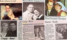 Are these the worst couple names EVER? From Shaver-Nicely to Long-Wiwi, the unions that are guaranteed to make you cringe Funny Real Names, Worst Names, Cringe, Newlyweds, Funny Pictures, Memories, Surnames, Comics, Couples