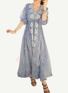 Bröllopsklänningar - $43.15 - Bomull linne Blommor Halvlång ärm Maxi Vintage Bröllopsklänningar (1955104500)