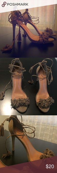 Tan fringe lace up stilettos Fringe stilettos Shoes Heels