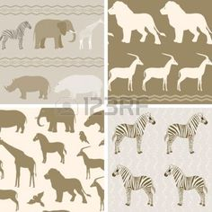 Seamless pattern with african animals on wavy background photo
