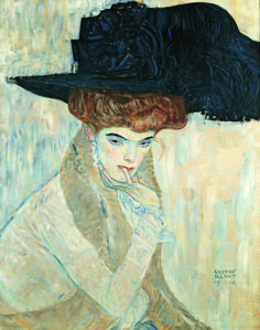 Gustav Klimt, The Black Feather Hat (1910). Courtesy of the Neue Galerie.