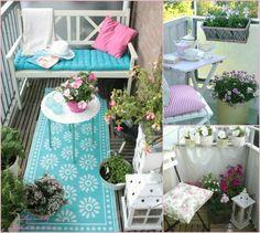 balkon gestalten balkonmöbel runder beistelltisch sofa teppichläufer laternen blumentopfe balkonpflanzen