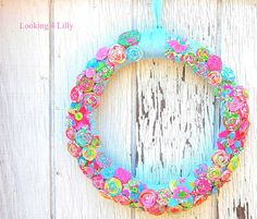 Lilly Pulitzer fabric Floral Holiday Wreath #LillyHoliday