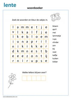 Find the spring words and color the squares. The remaining letters form another word. Teacher Lesson Plans, Kindergarten Lesson Plans, Kindergarten Worksheets, Spring Word Search, Spring Words, Dutch Language, Spelling Bee, Letter Form, Indoor Activities For Kids