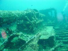 Scuba dive through a ship wreck