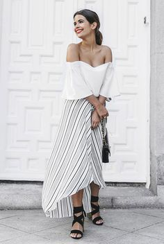 summer outfit, summer getaway outfit, summer vacation outfit, party outfit, night out outfit, summer trends 2016 - white off the shoulder top, black stripe maxi skirt, black lace up sandals, black shoulder bag