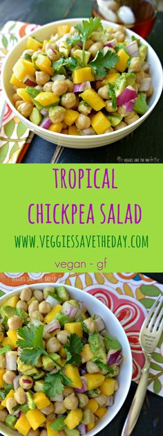 Tropical Chickpea Salad is great for lunches or potlucks. It's healthy, low-fat, and full of nutrients from mangoes and avocados. Get this recipe and more like this when you visit www.veggiessavetheday.com, or pin and save for later! vegan vegetarian gluten-free