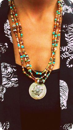 Gold Green Brown Layered Beaded Necklace by RandRsWristCandy, $15.00