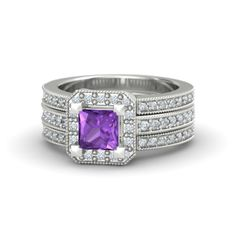 """Va Voom Ring (with amethyst center stone, diamond accent stone 1 & accent stone 2, sterling silver primary metal, secondary metal & center stone metal) (Gemvara) (""""Packed with 58 bright pave-set gems surrounding a princess-cut gem center, this stunning ring is brilliant from every angle. This statement signature piece is a jewelry wardrobe must-have."""")"""