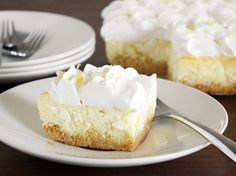 This springtime dessert is a super-popular Betty classic that's been adapted to a 13x9-inch pan—perfect for a crowd! It all starts with a box of yellow cake mix, and the filling is easy as can be. Pro tip: Be careful not to overbeat the eggs into the batter; too much air can cause the cheesecake to crack on top.