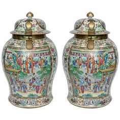 A large pair of rose medallion Canton covered jars | From a unique collection of antique and modern vases at https://www.1stdibs.com/furniture/more-furniture-collectibles/vases/
