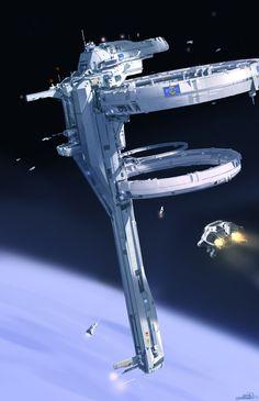 New Concept Art Cyberpunk Space Station Ideas Spaceship Art, Spaceship Design, Spaceship Concept, Concept Ships, Arte Sci Fi, Sci Fi Art, Science Fiction Kunst, Concept Art Landscape, Fantasy Anime