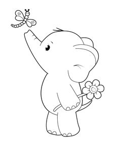 Cute Coloring Pages, Coloring Books, Fairy Coloring, Digi Stamps Free, Elephant Coloring Page, Printable Animals, Cute Elephant, Elephant Applique, Elephant Template