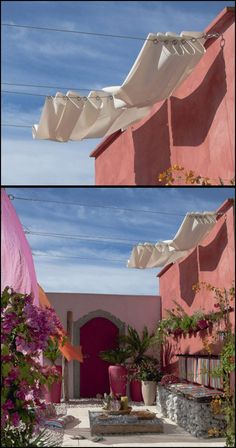 10 Creative DIY Outdoor Shady Space Ideas----simple wire mounted fabric shade