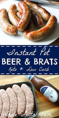 Low carb and keto beer brats for your instant pot. Making instant pot beer brats makes the BEST bratwurst recipe! Low carb and keto beer brats for your instant pot. Making instant pot beer brats makes the BEST bratwurst recipe! Crock Pot Recipes, Bratwurst Recipes, Beef Recipes, Low Carb Recipes, Cooking Recipes, Healthy Recipes, Delicious Recipes, Cabbage Recipes, Cooking Games